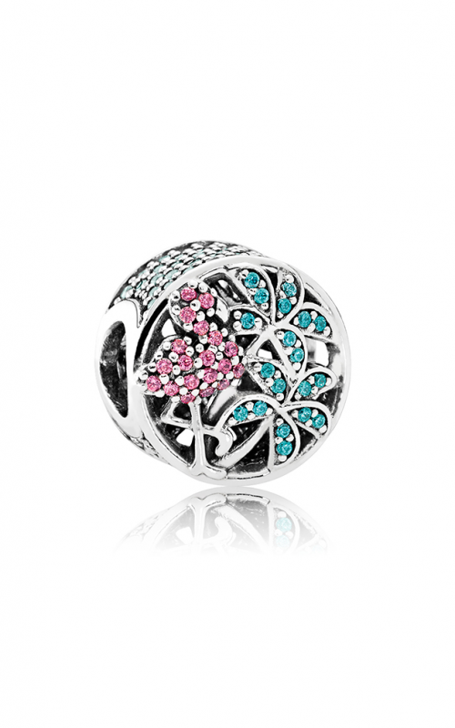 PANDORA Tropical Flamingo Light Green Crystals & Multi-Colored CZ Charm 792117CZS product image