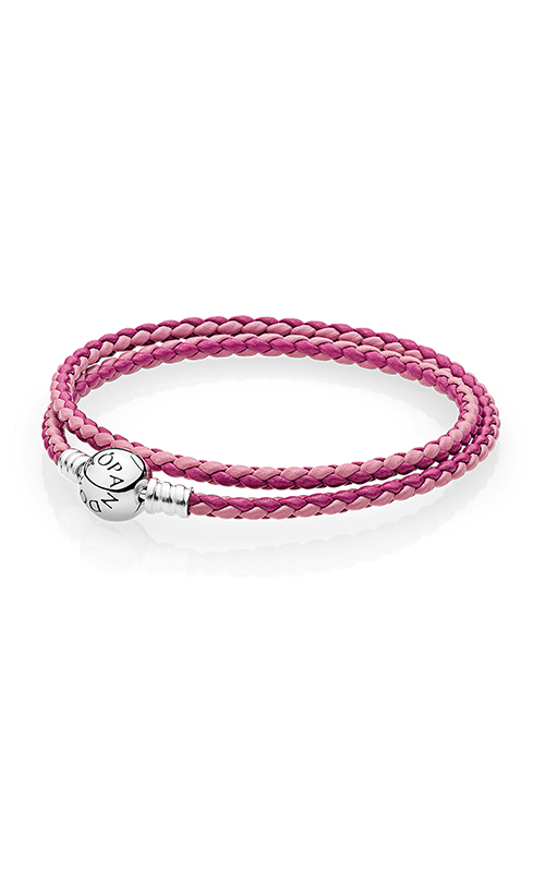 PANDORA Mixed Pink Woven Double-Leather Charm Bracelet 590747CPMX-D1 product image