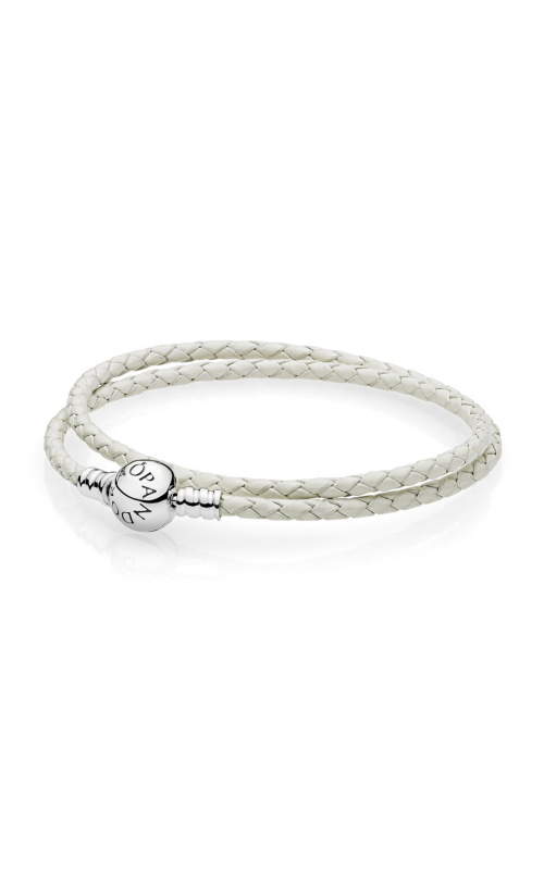 PANDORA Ivory White Braided Double-Leather Charm Bracelet 590745CIW-D1 product image