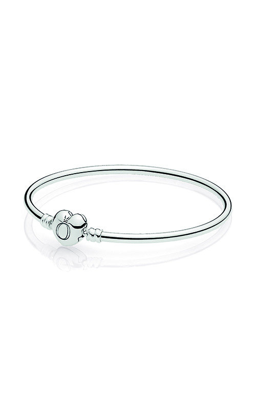 PANDORA Moments Silver Bangle Bracelet Logo Heart Clasp 596268-17 product image