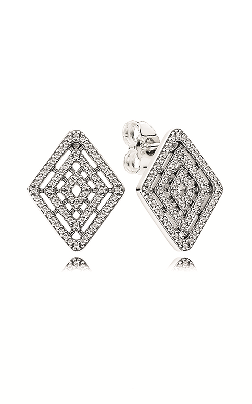 PANDORA Geometric Lines Stud Earrings Clear CZ 296208CZ product image