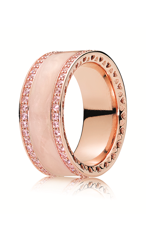 5e5bd4ad1 PANDORA Rose™ & Clear CZ, Cream Enamel Hearts Ring 181024EN95-48 product  image