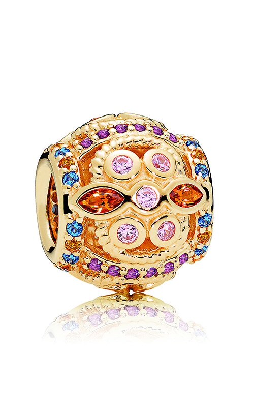 PANDORA Color Fresco Charm, 14K Gold & Multi-Colored Crystals & Pink CZ 756225PCZMX product image