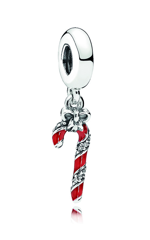PANDORA Sparkling Candy Cane Dangle Charm, Berry Red Enamel & Clear CZ 796382EN39 product image
