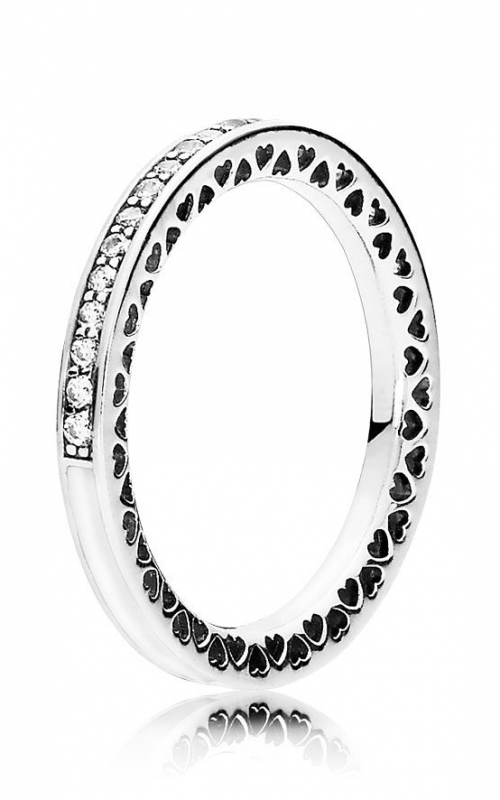 PANDORA Silver Enamel & Clear CZ Radiant Hearts Ring 191011CZ-58 product image