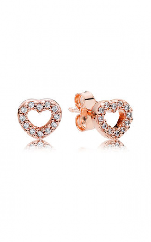 Pandora Rose™ & Clear CZ, Captured Hearts Stud Earrings 280528CZ product image