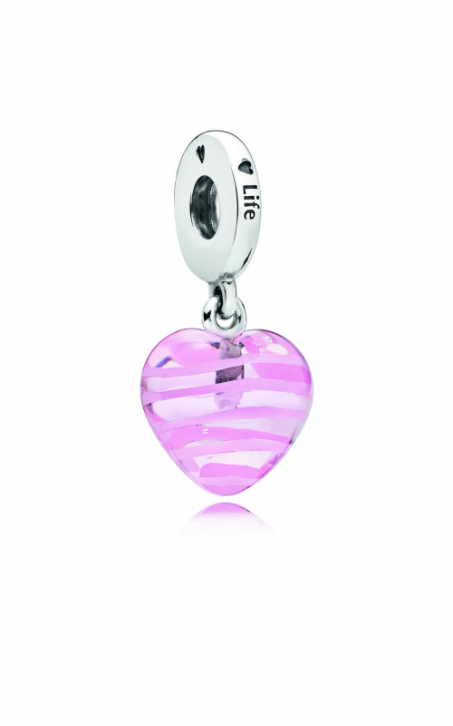 PANDORA Pink Ribbon Heart Dangle Charm, Murano Glass 797069 product image