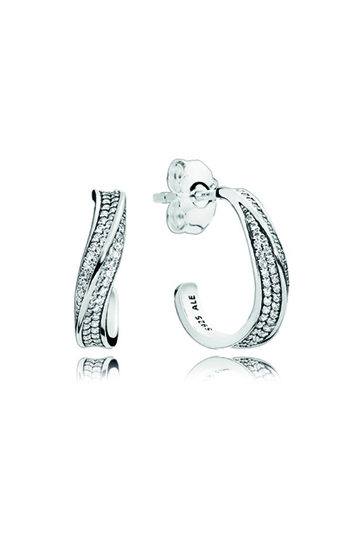 PANDORA Elegant Waves Hoop Earrings, Clear CZ 297097CZ product image