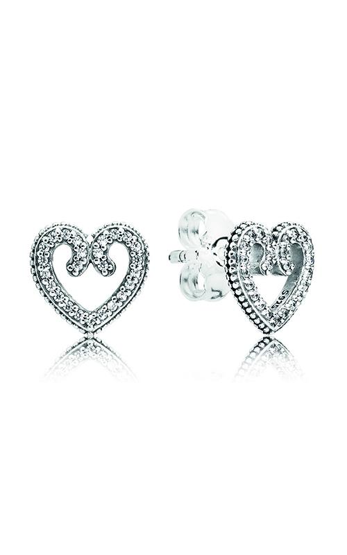 Pandora Heart Swirls Stud Earrings, Clear CZ 297099CZ product image