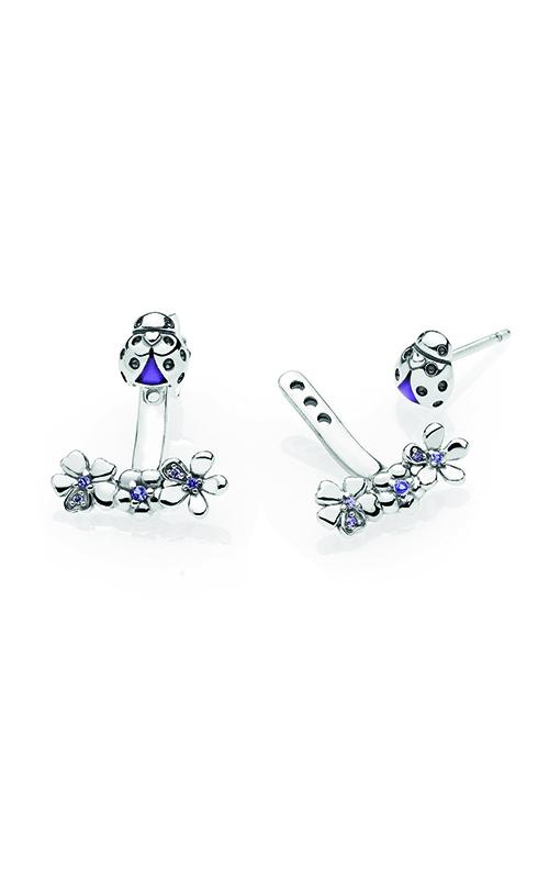 PANDORA Ladybug Meadow Jacket Earrings,Purple Enamel & CZ 297123NLC product image