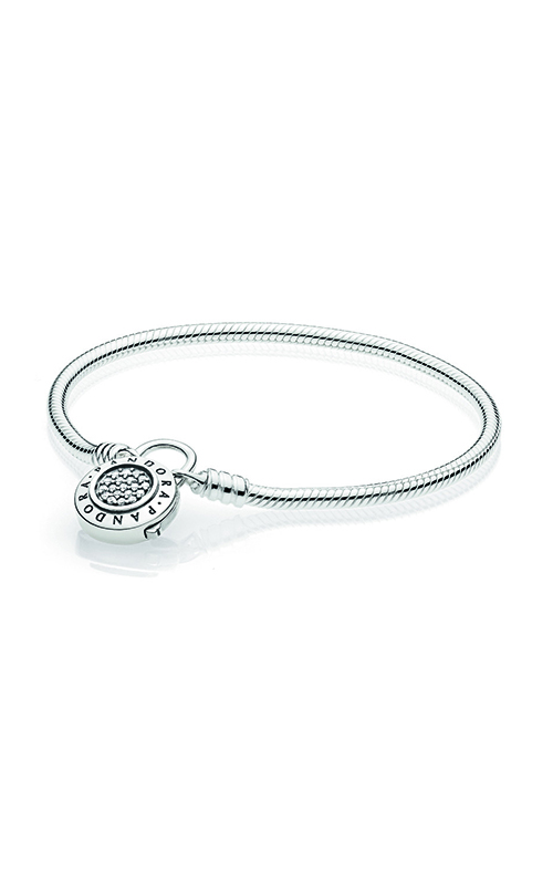 PANDORA Signature Padlock Clasp, Clear CZ Sterling Silver Smooth Bracelet 597092CZ-18 product image