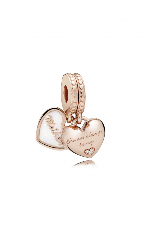 Pandora ROSE™, Silver Enamel & Clear CZ, Mother & Daughter Hearts Dangle Charm 782072EN23 product image