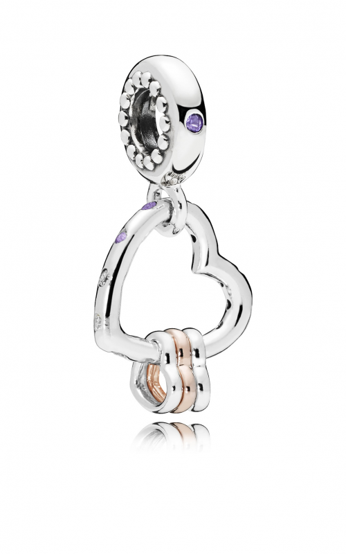 Heart Highlights Dangle Charm, Lilac & Royal Purple Crystals & Clear CZ 787247NLCMX product image