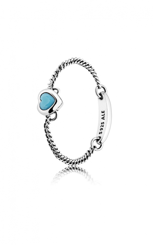 PANDORA Spirited Heart Ring, Cyan Blue Crystal 197191NYA-48 product image