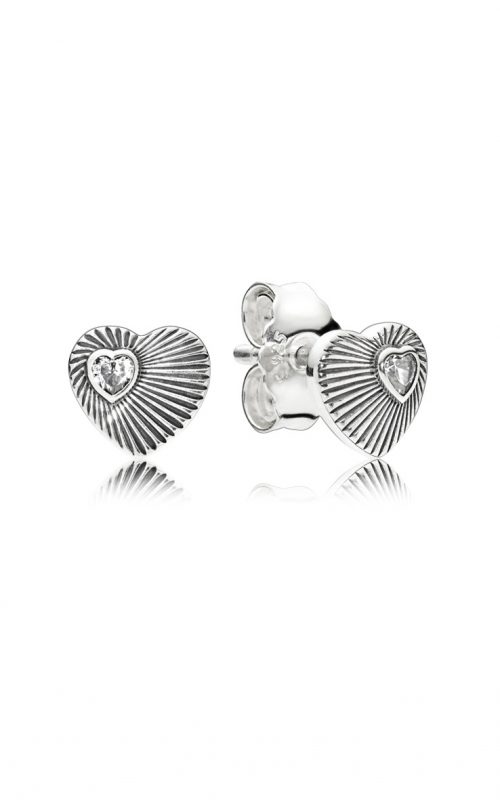 PANDORA Vintage Heart Fans, Clear CZ Earrings 297298CZ product image