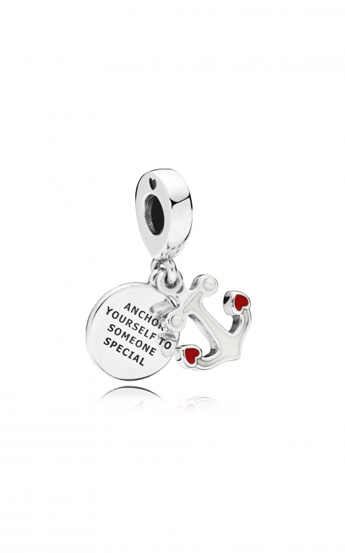 PANDORA Anchor of Love Dangle Charm, Red & Black Enamel 797208ENMX product image