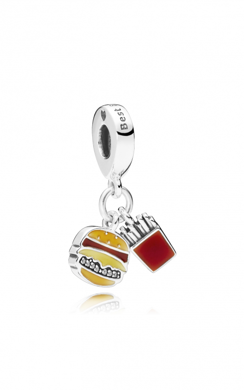 PANDORA Burger & Fries Dangle Charm, Red, Golden & Yellow Enamel 797211ENMX product image