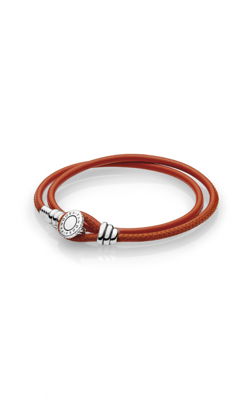 PANDORA Spicy Orange Double Leather Bracelet, Clear CZ 597194CSO-D3 product image