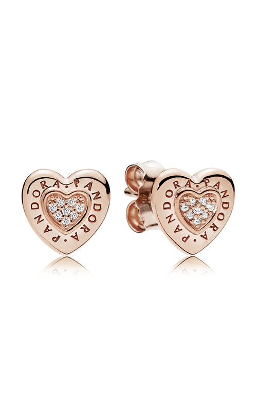 PANDORA Signature Heart Earrings PANDORA Rose™ & Clear CZ 287382CZ product image