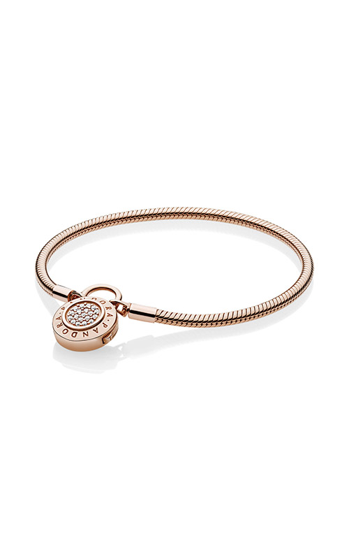 Smooth PANDORA Rose™ Bracelet, Signature Padlock Clear CZ 587757CZ-20 product image