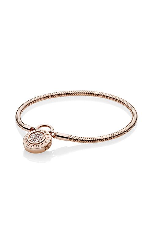 Smooth PANDORA Rose™ Bracelet, Signature Padlock Clear CZ 587757CZ-19 product image