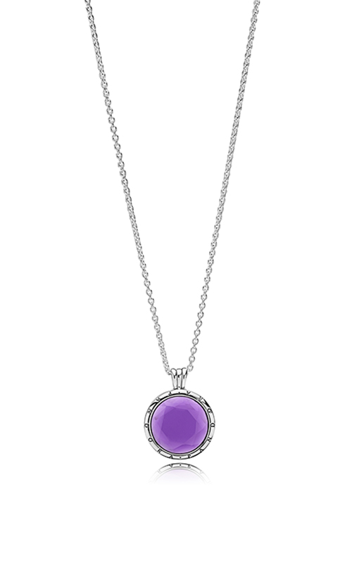 PANDORA Faceted Floating Locket Synthetic Amethyst Necklace 397710SAM-60 product image