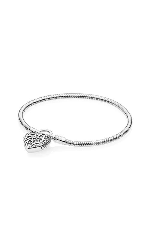 PANDORA Smooth Silver Padlock Regal Heart Bracelet 597602-19 product image