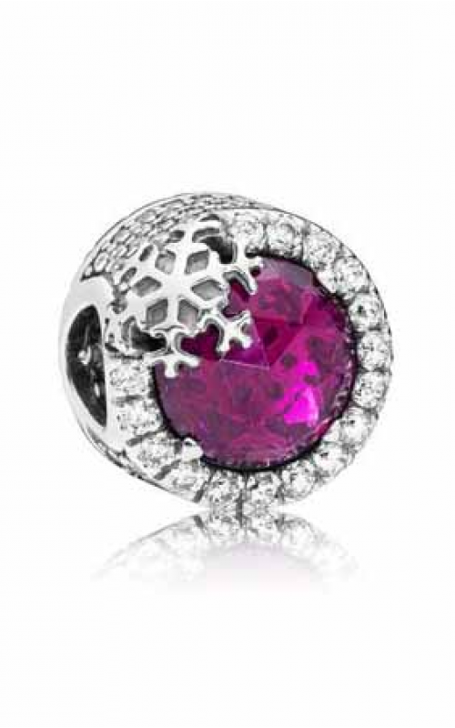 PANDORA Dazzling Snowflake Charm Clear CZ & Cerise Crystal 797555NCC product image