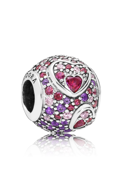 Pandora Asymmetric Hearts of Love Charm Red & Pink CZ Royal Purple Crystals 797826CZRMX product image