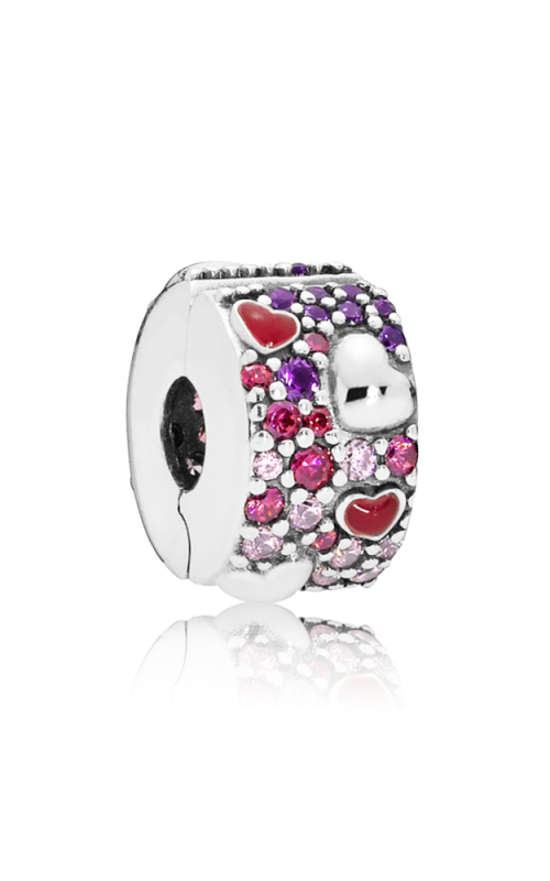 Pandora Asymmetric Hearts of Love Charm Red & Pink CZ Royal Purple Crystals Crimson Red Enamel 797838CZRMX product image