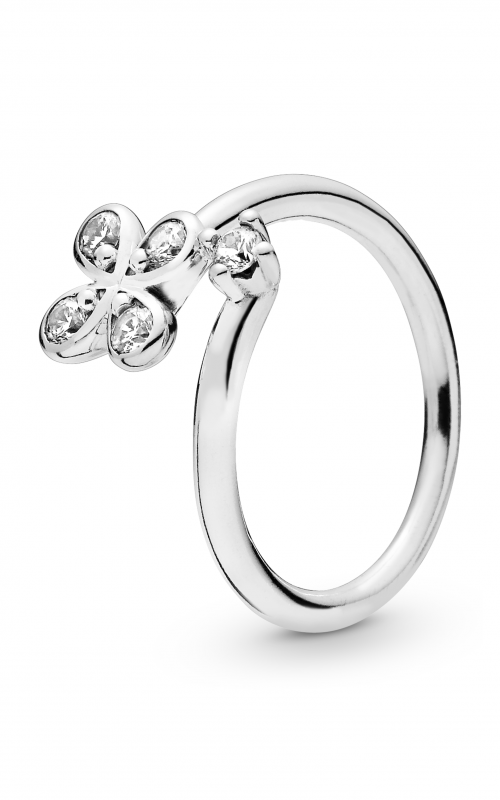 PANDORA Four-Petal  Flowers Twisted Ring Clear CZ 197988CZ-58 product image