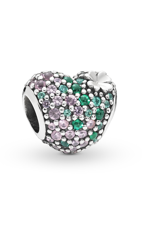 Pandora Gleaming Clover Heart Charm Green & Pink Crystals 797869NRGMX product image
