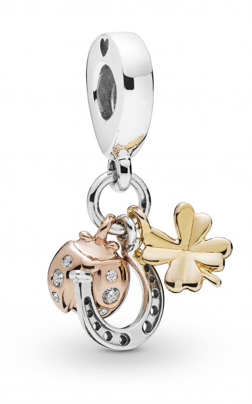 PANDORA Horseshoe Clover & Ladybird Dangle Charm Clear CZ 797852CZ product image