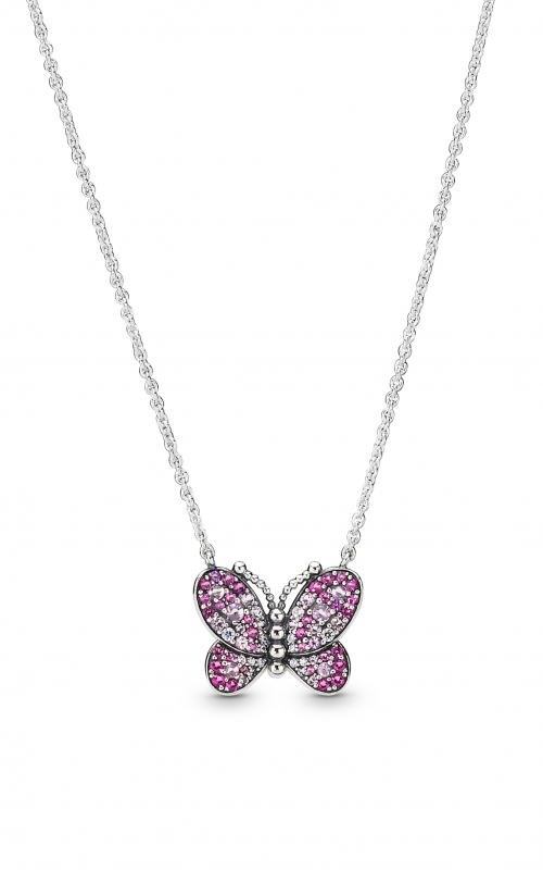 PANDORA Dazzling Pink Butterfly Necklace Pink Crystals & Clear CZ 397931NCCMX-50 product image