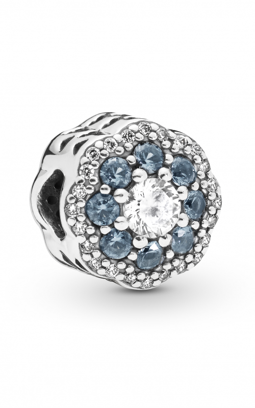 PANDORA Blue Sparkle Flower Charm Moonlight Blue Crystals & Clear CZ 797851NMB product image