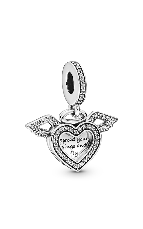 Pandora Heart & Angel Wings, Clear CZ Dangle Charm 798485C01 product image