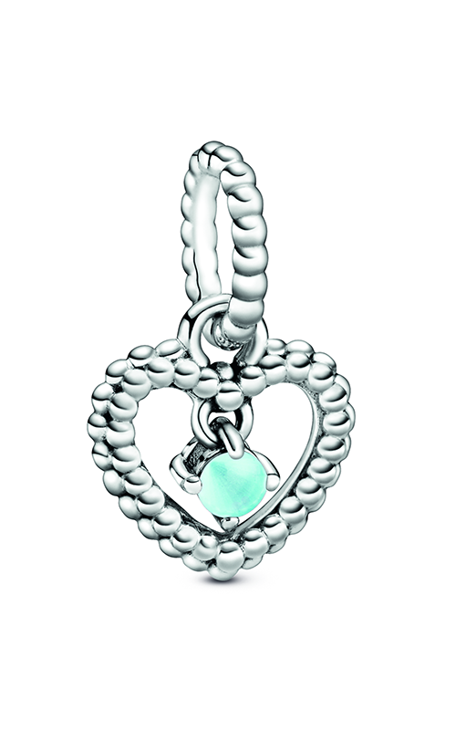 Pandora Sky Blue Beaded Heart Dangle Charm 798854C07 product image