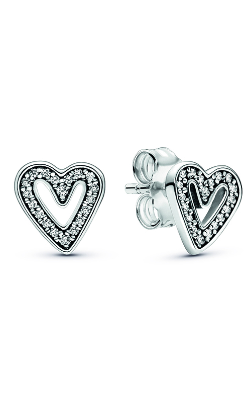 Pandora Sparkling Freehand Heart Stud Earrings 298685C01 product image
