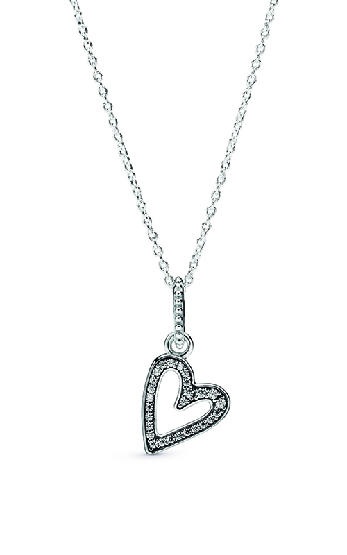 Pandora Sparkling Freehand Heart Pendant Necklace 398688C01-50 product image