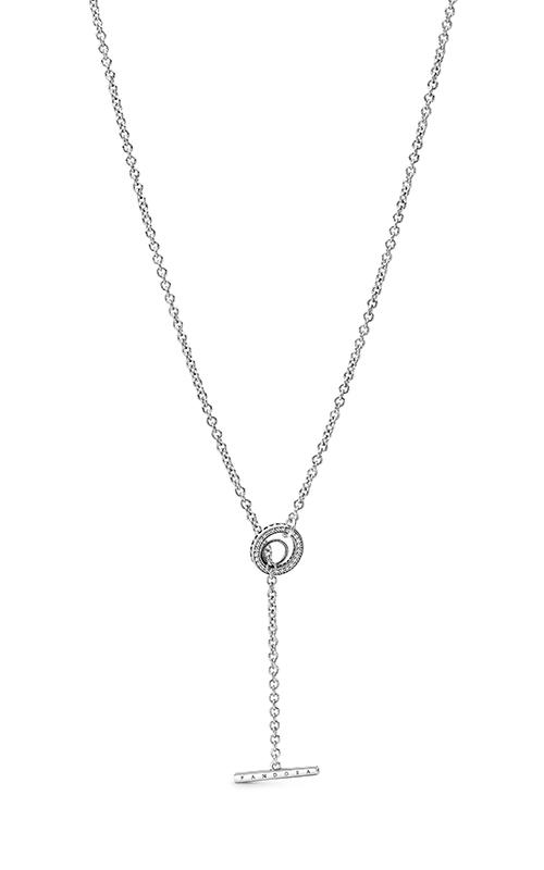 Pandora Pave Circle Logo T-bar Heart Necklace 399050C01-80 product image