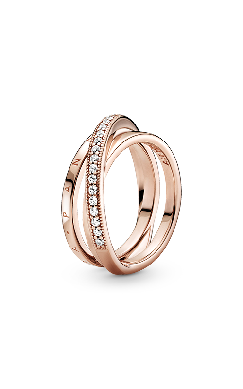 Pandora Rose™ Crossover Pavé Triple Band Ring 189057C01-50 product image