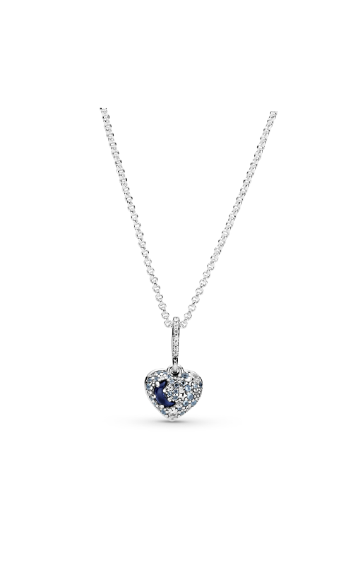 Pandora Sparkling Blue Moon & Stars Heart, Blue Crystal, Clear & Blue CZ Necklace 399232C01 product image