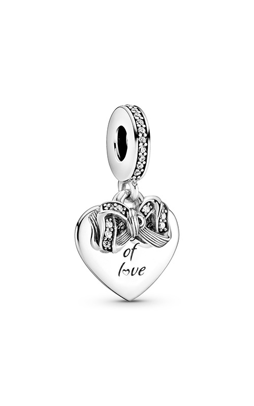 Pandora Bow & Love Heart ,Clear CZ Dangle Charm 799221C01 product image