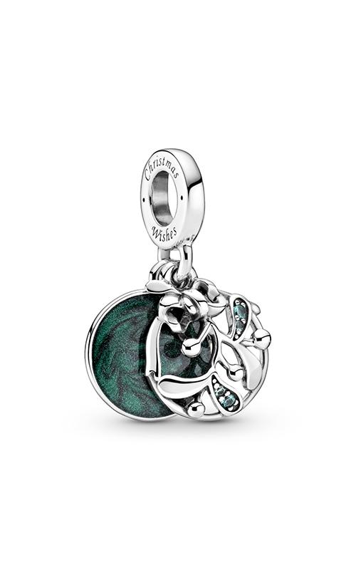 Pandora Christmas Mistletoe, Green Enamel & Crystal Dangle Charm 799229C01 product image
