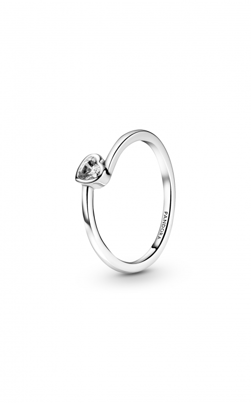 Pandora People Clear Tilted Heart Solitaire Ring 199267C02-50 product image