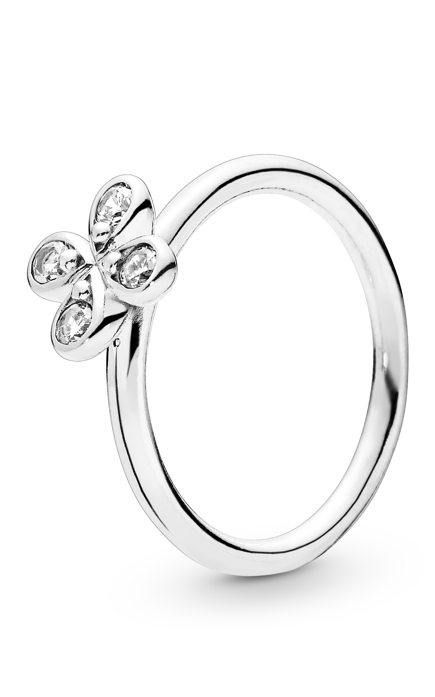 91d472277 PANDORA Four-Petal Flower Ring Clear CZ 197967CZ-48