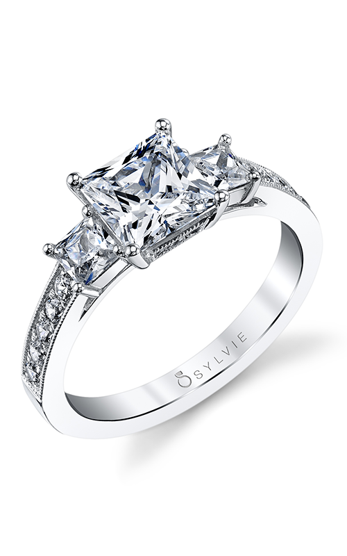 Sylvie Three Stone Engagement ring S1217S-65A8W10P product image