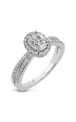Zeghani Halo Crown Engagement ring Zr2148 product image