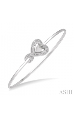 DIAMOND HEART SHAPE FLEXI BANGLE 85819DHSSSLBG product image