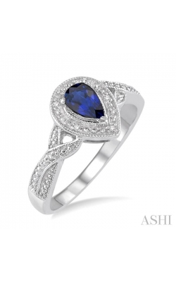 PEAR SHAPE SILVER GEMSTONE & DIAMOND RING 88649DHSSSPSLRG product image